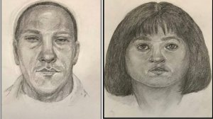 Sketches provided by the Los Angeles Police Department on Jan. 29, 2018 show a man and a woman accused of taking $45,000 from a North Hollywood resident.