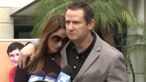 From left: Jeanne Pepper-Bernstein and Gideon Bernstein, the parents of Blake Bernstein, appear at a press conference following the announcement of their son's death, Jan. 10, 2018. (Credit: KTLA)