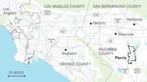 A Los Angeles Times map shows the location of Perris.