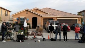 Members of the media camp out in front of the Perris home of David Allen and Louise Anna Turpin on Jan. 16, 2018. The couple were arrested on suspicion of torture and child endangerment after their 13 children were found shackled and malnourished. (Credit: Irfan Khan / Los Angeles Times)