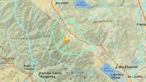 A 4.0 earthquake struck near Trabuco Canyon on Jan. 25, 2018. (Credit: USGS)