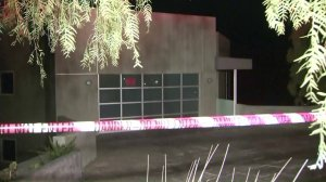 The home was red-tagged and cordoned off with tape warning people to keep out. (Credit: KTLA)