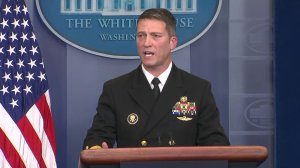 White House Physician Rear Admiral Dr. Ronny Jackson delivers the results of President Donald Trump's medical exam on Jan. 16, 2018. (Credit: KTLA)