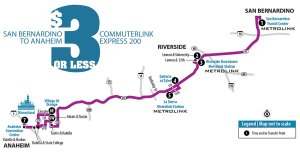 A map shows a bus route taking passengers from San Bernardino to Disneyland. (Credit: Riverside Transit Agency)