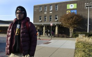 Matthew Cunningham, 18, a senior at Baltimore Polytechnic Institute, talks about the cold temperatures. (Credit: Baltimore Sun/ TNS / Getty Images via CNN)