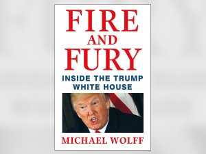 """Journalist Michael Wolff's book, """"Fire and Fury: Inside the White House,"""" is seen. (Credit: Henry Holt and Co./CNNMoney)"""
