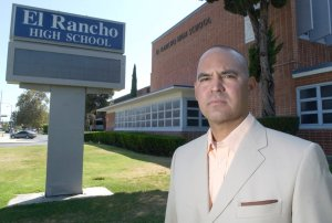 Teacher Gregory Salcido stands in front of El Rancho High School in Pico Rivera on July 21, 2010. (Credit: Keith Durflinger / Whittier Daily News)