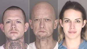 Left to right: Kevin Derrick, Aaron Derkacz and Carly Jo Orrison are shown in photos released by the Santa Barbara County Sheriff's Office on Jan. 4, 2018.