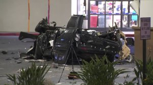 A man and a woman died after a violent, solo-vehicle collision in Studio City on Jan. 31, 2018. (Credit: KTLA)