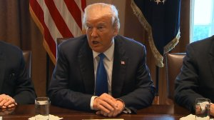 President Donald Trump speaks at a meeting on immigration reform with a bipartisan group of lawmakers on Jan. 9, 2018. (Credit: Pool via CNN)