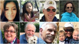 Top row, from left: Marilyn Ramos, 27; her daughter Kailly Benitez, 3; Roy Rohter, 84; Rebecca Riskin, 61. Bottom row, from left: Alice Mitchell, 78; her husband, Jim Mitchell, 89; Peter Fleurat, 73; Josephine Gower, 69 are shown in photos obtained by the Los Angeles Times.