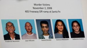 Five people killed in a Long Beach homeless encampment in 2008 are shown in an undated photo. (Credit: Shown are the five people killed at a Long Beach homeless encampment in 2008. (Gina Ferazzi / Los Angeles Times)