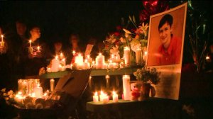Family, friends and others attended a candlelight vigil for Blaze Bernstein on Jan. 10, 2018. (Credit: KTLA)