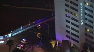 Deputies responded after a shooting outside the Mondrian Los Angeles Hotel in West Hollywood on Jan. 16, 2018. (Credit: KTLA)