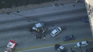 A wrong-way driver caused a multivehicle crash on the 210 Freeway in Claremont on Jan. 22, 2018. (Credit: KTLA)