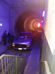A GMC truck is seen after it became stuck in a Metro Gold Line train tunnel following a pursuit on Feb. 20, 2018. (Credit: LAPD Transit Service Division)