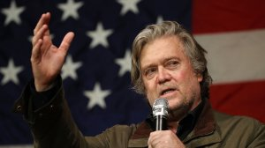 Steve Bannon speaks before introducing Republican Senatorial candidate Roy Moore during a campaign event at Oak Hollow Farm on Dec. 5, 2017, in Fairhope, Ala. (Credit: Joe Raedle/Getty Images)