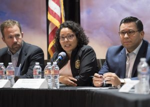 Assemblymember Cristina Garcia, center, speaks during a meeting on climate change in Herbert on Nov. 3, 2017 (Credit: a58.asmdc.org)