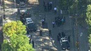 Police responded to a shooting on the campus of Sal Castro Middle School on Feb. 1, 2018. (Credit: KTLA)