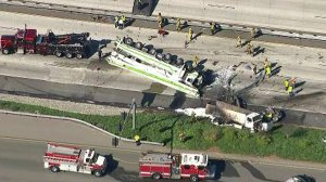 A multivehicle crash prompted the closure of the 10 Freeway in Rialto on Feb. 16, 2018. (Credit: KTLA)