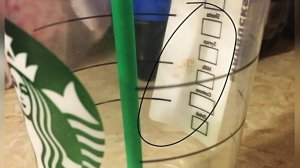A photo provided to KTLA by the Vice's attorney shows one of the cups purchased at the San Bernardino Starbucks in February 2016.
