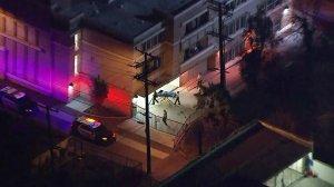 Authorities investigate a fatal shooting in East Los Angeles on Feb. 7, 2018. (Credit: KTLA)