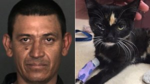 Lucio Lopez, left, and Olive are seen in photos released by Fontana police on Feb. 6, 2018.