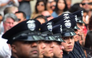 Recruits attend their graduation ceremony at Los Angeles Police Department Headquarters on July 8, 2016. (Credit: Frederic J. Brown / AFP / Getty Images)