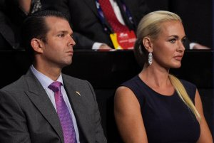Donald Trump Jr. and Vanessa Trump attend the evening session on the fourth day of the Republican National Convention on July 21, 2016 at the Quicken Loans Arena in Cleveland, Ohio. (Credit: Jeff Swensen/Getty Images)