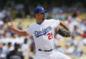 Esteban Loaiza of the Los Angeles Dodgers pitches against the Colorado Rockies at Dodger Stadium on April 27, 2008 in Los Angeles. (Credit: Lisa Blumenfeld/Getty Images)