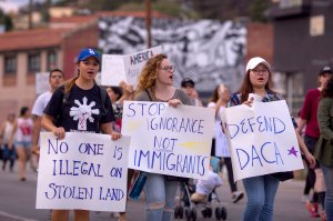 Advocates participate at a march to oppose President Donald Trump's order to end DACA on Sept. 10, 2017 in Los Angeles. (Credit: David McNew/Getty Images)