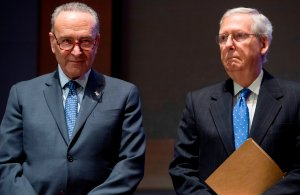 US Senate Majority Leader Mitch McConnell (R) and US Senate Minority Leader Chuck Schumer (L) on Capitol Hill in Washington, DC, November 9, 2017. (Credit: SAUL LOEB/AFP/Getty Images)