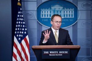 Mick Mulvaney, the director of the Office of Management and Budget, speaks during a briefing at the James S. Brady Press Briefing Room of the White House on January 20, 2018 in Washington, DC. (Credit: BRENDAN SMIALOWSKI/AFP/Getty Images)
