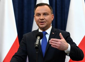Poland's President Andrzej Duda gives a press conference on February 6, 2018 in Warsaw to announces that he will sign into law a controversial Holocaust bill which has sparked tensions with Israel, the US and Ukraine. (Credit: JANEK SKARZYNSKI/AFP/Getty Images)