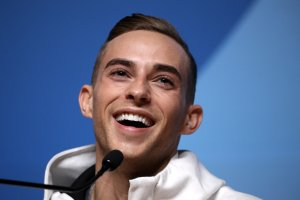 U.S. figure skater Adam Rippon speaks during a press conference on Feb. 13, 2018, in Pyeongchang-gun, South Korea. (Credit: Chris Graythen / Getty Images)