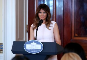 First Lady Melania Trump speaks at a luncheon for governors spouses in the Blue Room at the White House, on February 26, 2018 in Washington, DC. (Credit: Mark Wilson/Getty Images)