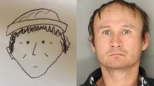 A sketch of a theft suspect in Lancaster, Pennsylvania provided by a witness and a man police believe is responsible for the crime are shown side-by-side. (Credit: Lancaster City Bureau of Police via WPMT)