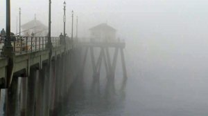 A woman disappeared after plunging from Huntington Beach Pier on Feb. 7, 2018. (Credit: KTLA)