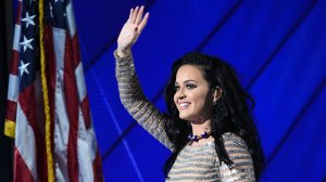 Singer Katy Perry performs during the final day of the 2016 Democratic National Convention on July 28, 2016, at the Wells Fargo Center in Philadelphia, Penn. (Credit: TIMOTHY A. CLARY/AFP/Getty Images)