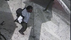 An image from a video provided by Los Angeles police on Feb. 12, 2018 shows a person of interest in the violent attack of a woman in Koreatown in Los Angeles.