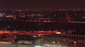 A view of Los Angeles International Airport on Feb. 10, 2018, when police said a man left a departing plane and got onto a runway. He was arrested shortly after. (Credit: KTLA)