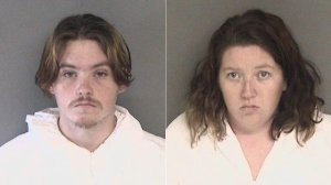 Daniel Gross, left, and Melissa Leonardo, right, are seen in booking photos released by the Alameda County Sheriff's Office.