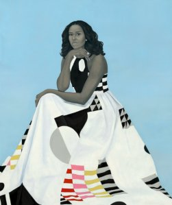 """Michelle LaVaughn Robinson Obama"" by Amy Sherald was unveiled at the National Portrait Gallery on Feb. 12, 2018."