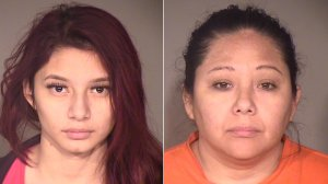 Melissa Susana Partida, left, and her mother Maria Karina Perez are shown in booking photos released by the Ventura County Sheriff's Office on Feb. 13, 2018.