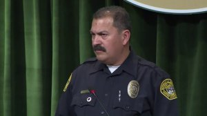 Security Officer Marino Chavez speaks at a news conference on Feb. 21, 2018. (Credit: KTLA)