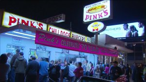 Pink's Hot Dogs is seen in this file photo. (Credit: KTLA)