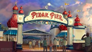 This artist concept shows the marquee for Pixar Pier. (Credit: Disney-Pixar)