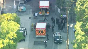 Police and emergency crews respond to Sal Castro Middle School following a shooting on Feb. 1, 2018. (Credit: KTLA)