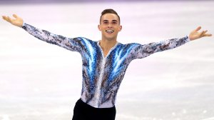 Adam Rippon of the United States of America celebrates after competing in the Figure Skating Team Event Men's Single Free Skating on day three of the PyeongChang 2018 Winter Olympic Games at Gangneung Ice Arena on Feb. 12, 2018, in Gangneung, South Korea. (Credit: Maddie Meyer/Getty Images)