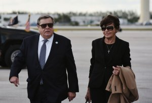 Viktor and Amalija Knavs, parents of first lady Melania Trump, are seen on the tarmac after they stepped off Air Force One upon arrival at West Palm Beach, Florida, on March 17, 2017. (Credit: Mandel Ngan / AFP / Getty Images)